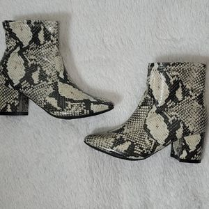 Time and True Faux Reptile Textured Low Heel Boots